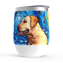Load image into Gallery viewer, Labrador Night, Yellow profile, Stemless Wine Tumblers