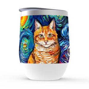 Tabby Cat Night, Orange, Stemless Wine Tumblers