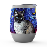 Siamese Cat Night Stemless Wine Tumblers