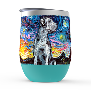 Great Dane Night, Merle, Stemless Wine Tumblers