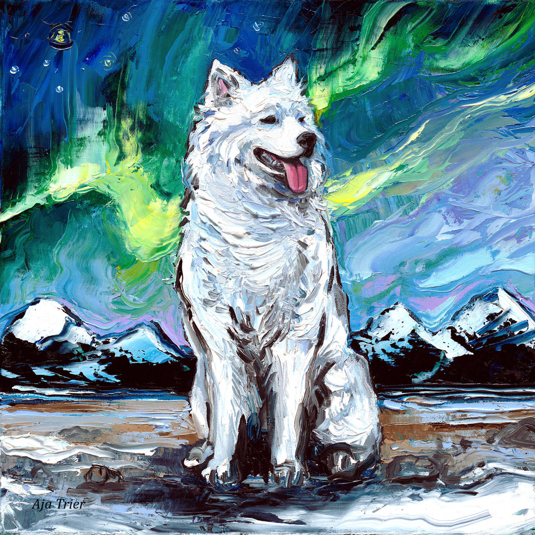 Samoyed Night Canvas Print