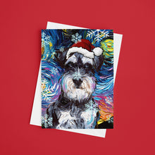 Load image into Gallery viewer, Schnauzer Night Christmas Greeting Card