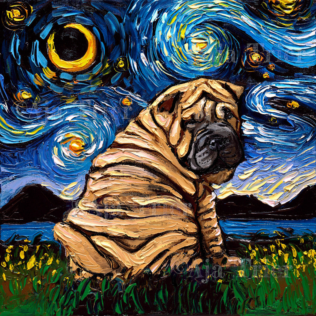 Shar Pei Night Canvas Print