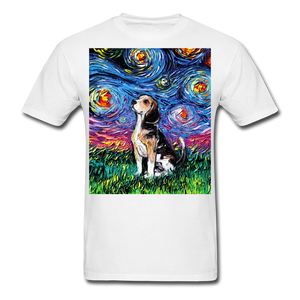 Beagle Night Unisex Classic T-Shirt - white