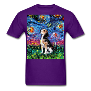 Beagle Night Unisex Classic T-Shirt - purple