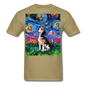 Beagle Night Unisex Classic T-Shirt - khaki