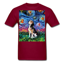Load image into Gallery viewer, Beagle Night Unisex Classic T-Shirt - burgundy