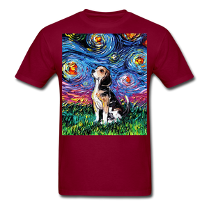 Beagle Night Unisex Classic T-Shirt - burgundy