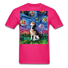 Load image into Gallery viewer, Beagle Night Unisex Classic T-Shirt - fuchsia