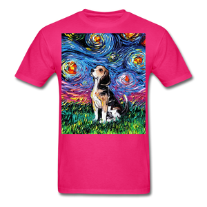 Beagle Night Unisex Classic T-Shirt - fuchsia