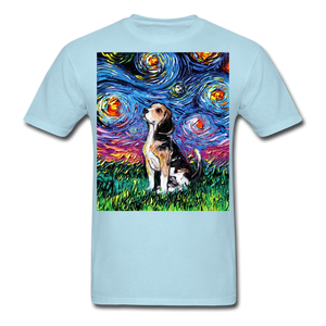 Beagle Night Unisex Classic T-Shirt - powder blue