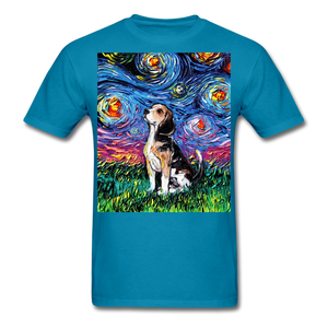 Beagle Night Unisex Classic T-Shirt - turquoise