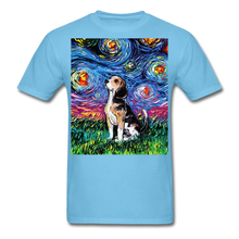 Load image into Gallery viewer, Beagle Night Unisex Classic T-Shirt - aquatic blue