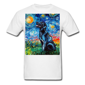 Black Labrador Night Unisex Classic T-Shirt - white