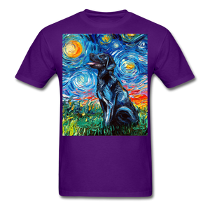 Black Labrador Night Unisex Classic T-Shirt - purple