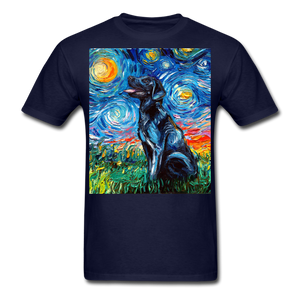 Black Labrador Night Unisex Classic T-Shirt - navy