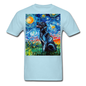 Black Labrador Night Unisex Classic T-Shirt - powder blue
