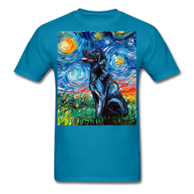 Load image into Gallery viewer, Black Labrador Night Unisex Classic T-Shirt - turquoise
