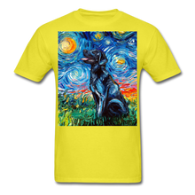 Load image into Gallery viewer, Black Labrador Night Unisex Classic T-Shirt - yellow