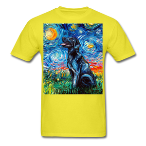 Black Labrador Night Unisex Classic T-Shirt - yellow