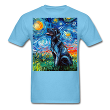 Load image into Gallery viewer, Black Labrador Night Unisex Classic T-Shirt - aquatic blue