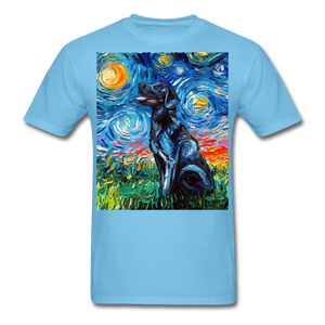 Black Labrador Night Unisex Classic T-Shirt - aquatic blue
