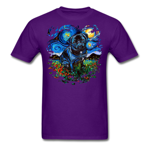 Black Pug Splash Unisex Classic T-Shirt - purple