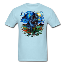 Load image into Gallery viewer, Black Pug Splash Unisex Classic T-Shirt - powder blue
