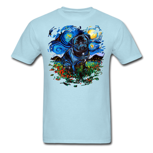 Black Pug Splash Unisex Classic T-Shirt - powder blue