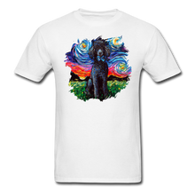 Load image into Gallery viewer, Black Poodle Night Splash Unisex Classic T-Shirt - white