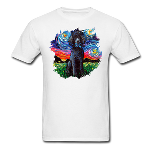 Black Poodle Night Splash Unisex Classic T-Shirt - white