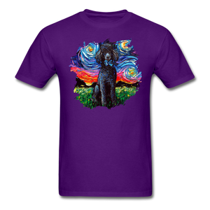 Black Poodle Night Splash Unisex Classic T-Shirt - purple