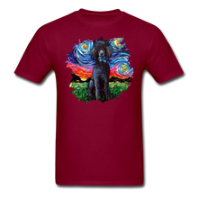 Load image into Gallery viewer, Black Poodle Night Splash Unisex Classic T-Shirt - burgundy