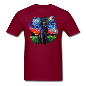 Black Poodle Night Splash Unisex Classic T-Shirt - burgundy