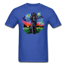 Load image into Gallery viewer, Black Poodle Night Splash Unisex Classic T-Shirt - royal blue