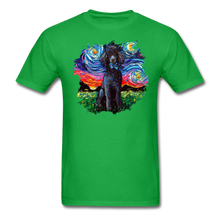 Load image into Gallery viewer, Black Poodle Night Splash Unisex Classic T-Shirt - bright green