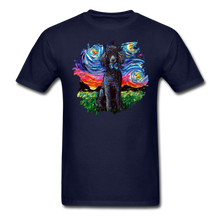 Load image into Gallery viewer, Black Poodle Night Splash Unisex Classic T-Shirt - navy