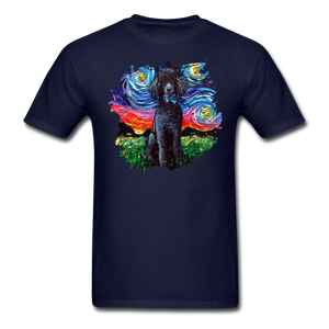 Black Poodle Night Splash Unisex Classic T-Shirt - navy