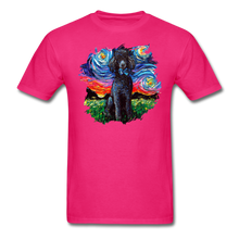 Load image into Gallery viewer, Black Poodle Night Splash Unisex Classic T-Shirt - fuchsia