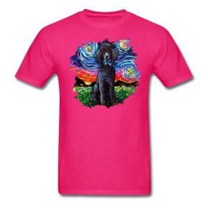 Black Poodle Night Splash Unisex Classic T-Shirt - fuchsia