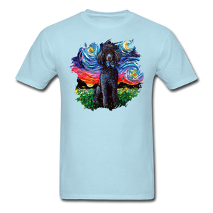 Black Poodle Night Splash Unisex Classic T-Shirt - powder blue