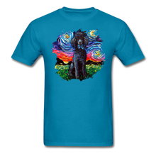 Load image into Gallery viewer, Black Poodle Night Splash Unisex Classic T-Shirt - turquoise