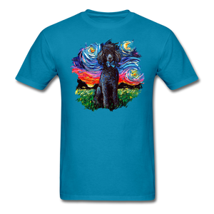 Black Poodle Night Splash Unisex Classic T-Shirt - turquoise