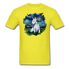Load image into Gallery viewer, Bull Terrier Night Splash Unisex Classic T-Shirt - yellow
