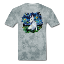 Load image into Gallery viewer, Bull Terrier Night Splash Unisex Classic T-Shirt - grey tie dye