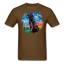Load image into Gallery viewer, Chocolate Labrador Night Splash Unisex Classic T-Shirt - brown