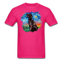 Load image into Gallery viewer, Chocolate Labrador Night Splash Unisex Classic T-Shirt - fuchsia