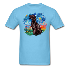 Load image into Gallery viewer, Chocolate Labrador Night Splash Unisex Classic T-Shirt - aquatic blue