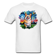 Load image into Gallery viewer, Smiling Corgi Night Splash Unisex Classic T-Shirt - white