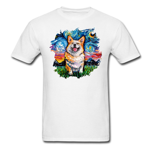 Smiling Corgi Night Splash Unisex Classic T-Shirt - white